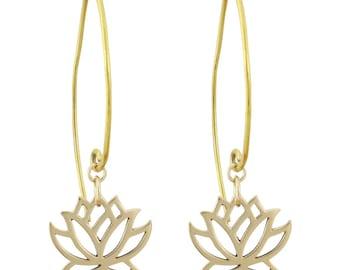 Lotus Flower Dangle Earrings, Bronze Lotus Earrings, Yoga Jewelry, Lotus Earrings, Lotus Jewelry, 8373-brz