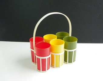 Vintage Plastic Tumblers with Caddy