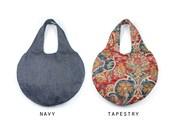 LILIAN Large Fabric Tote Bag. Circle Tote. Navy Blue Tote Bag. Large Fabric Tote. Round Shoulder  Bag