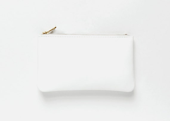 MAE White Leather Wallet. Wallet in Ceramic White. White Leather Pouch. Small White Leather Clutch.