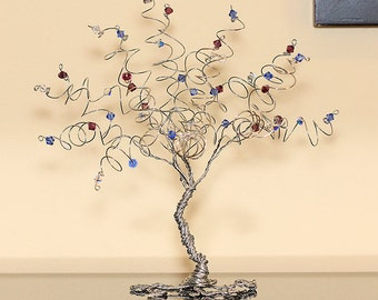 Mothers Day Family Tree Birthstone Sculpture Swarovski Crystal Mother Gift Grandmother Gift Wire Tree Sculpture Art Gemstone Tree