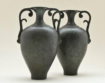 Greek Bronze Vessel, Ancient Greek Amphora, Ancient Replica, Metal Vase with Handles, Greek Metal Art Sculpture, Museum Quality Greek Art