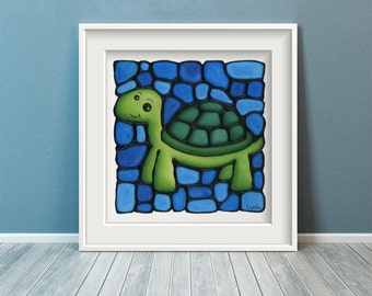 Turtle Art Print - Zoo Animal - Ocean Green Turtle on Water Blue Background - 8 x 10 inch - Hand Signed by Artist Kathy Lycka