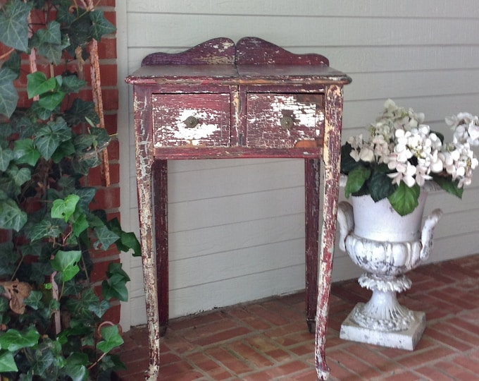 INSTOCK BEDSIDE TABLE with Chippy Crackly Red Paint Farmhouse Shabby Chic Console Entry Lamp End or Nightstand
