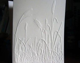 Marsh Grasses Hand Embossed Blank Card