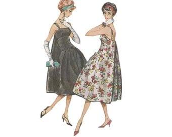 Uncut Pierre Cardin Cocktail Dress Sewing Pattern McCalls 4697 Bouffant Panel Pleated Back Dress Bust 34 Vintage 1950s Designer Fashion