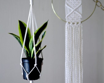 "Macrame Plant Hanger - 20"" Simple Mini - Natural White Cotton Rope - Indoor Hanging Planter - MADE TO ORDER"