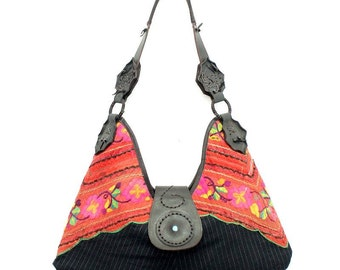 Tribal Bag With Leather Vintage Embroidered Hmong Fabric Thailand (BG362.12)