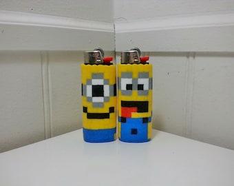 Minions Perler Bead LIGHTER CASES - despicable me - 8 bit - pixels