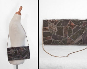 Patchwork SNAKESKIN Bag 80s Varon Convertible Chain Strap Gray Brown Tan