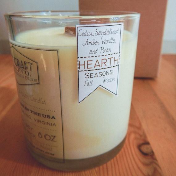 "CEDAR, VANILLA, AMBER, Sandalwood, and Pecan: 8 oz. Aromatherapy ""Hearth"" Candle"