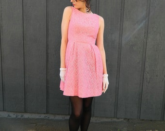 pink lace mini dress 50s 60s Audrey Hepburn babydoll madmen