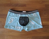 Seashells Male Underwear - Erotic Trunks - Stretch Mesh Junk Pouch - Shells and Seahorses - Blue with Black Mesh - Small, Medium, Large