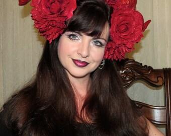 RED HOT DEVIL Red Glitter Demon Devil Horns Headdress Hair Adornment ooak