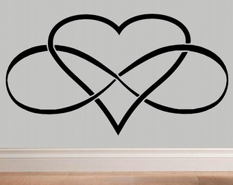 Infinity Heart Infinity symbol wall decal WD Love wall decal bedroom decor infinity loop wall quote vinyl lettering home decor love decal