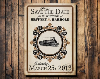 Train Save the Date Postcard, Steampunk Wedding, Printable Postcard Save the Date, Train Station Wedding, Train Station Party