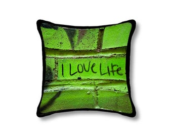 I Love Life Pillow Cover, Graffiti Throw Pillow, Vivid Green Black Dorm Room Home Decor, Chartreuse Lime Green Decorative Urban Photo Art