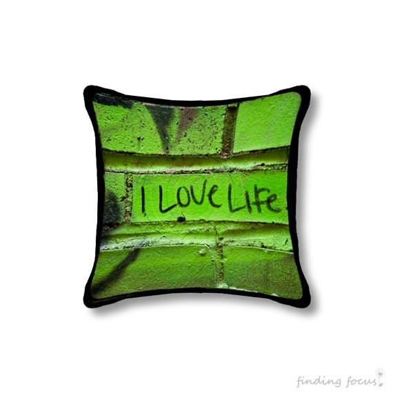 Love Life Throw Pillow : I Love Life Pillow Cover Graffiti Throw Pillow Vivid Green