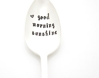 Good Morning Sunshine. Hand stamped coffee spoon. Unique Vintage Gift idea by Milk & Honey.