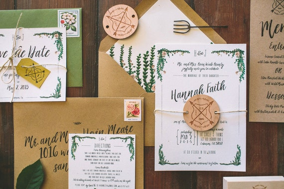Garden Wedding Invitations: Rustic And Whimsical Garden Wedding Invitation By