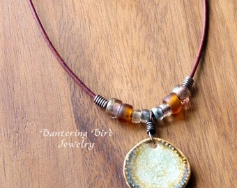 Adjustable Ceramic Necklace on Leather Cord, Amber Glass Beads, Brown Pottery Pendant, Bohemian Beaded Necklace, Fall Copper Jewelry