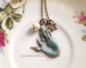 Vintage Style Mermaid Charm Necklace. Brass Chain. Green Patina. Ivory Pearl. Brass Star. Under 20. Ocean. Beach. Magic. Fantasy. Gifts.