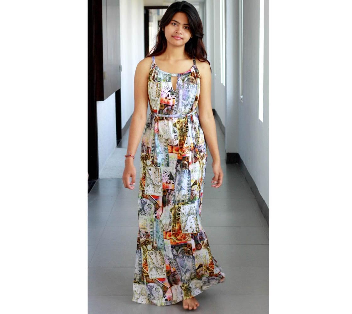 World Map Maxi Dress / Womens Dresses / Cut Out Dress / Summer