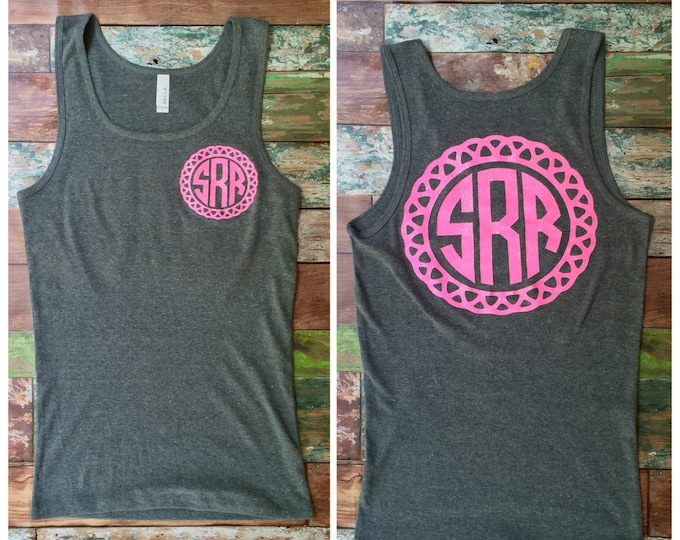 Monogrammed Tank top, Monogrammed gifts, Glitter Monogram Tank tops, Bridesmaid gifts, Personalized Tank top for Girls, Teens, Women