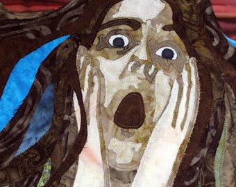 Self Portrait, Scream, Art quilt on canvas, Home Decor, OOAK