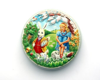 Alice In Wonderland Tin Box, Round Tin Candy Box Churchill's of London Classic Collection Made in England Fairy Tale Box, Tin Box Collection