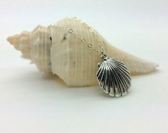 Silver Sea Shell Necklace, Sea Shell Jewelry, Sea Shell Pendant Charm, Beach Jewelry, Nautical Necklace, Ocean Jewelry, Sea Life Charm