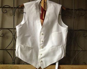 Edwardian Waistcoat Vest Cotton Button Down Textured Belted Vest