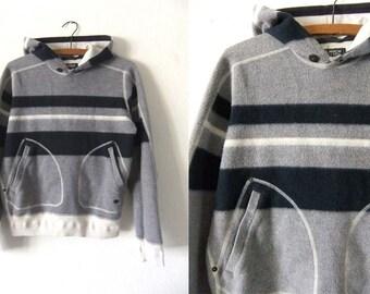 Woolrich Striped Fleece Sweatshirt - Color Block Hoodie Ivy League 90s Preppy Style Hooded Sweatshirt - Small