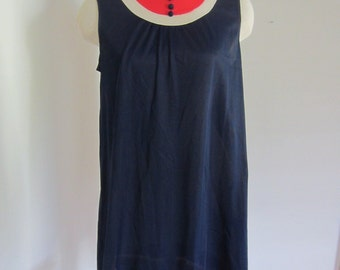Vintage 60's Mod 2 Babydoll Nightie and Peignoir Navy Blue with Tomato Red and White Trim S M