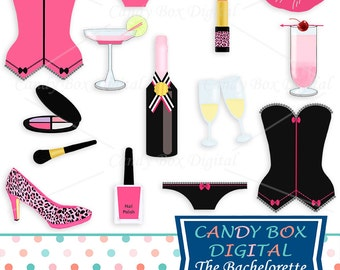 Bachelorette or Bridal Clipart, Girls Night Out, Champagne and Lingerie Clip Art - Commercial Use OK