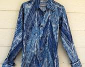 1970's Unique Retro Faux Denim Polyester Shirt - Size Medium