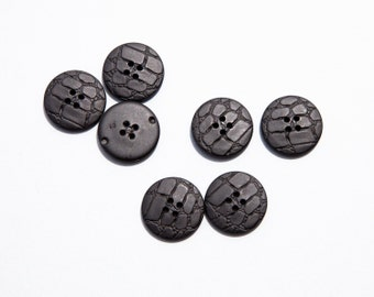 "15 Vintage 1"" Black Plastic Buttons with 4 Holes. Faux Leather Design. Matte Finish. Size 40L. Well Made. Sewing Buttons. Item 3360P"