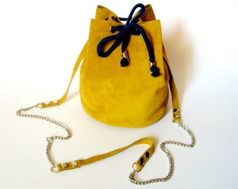 Mustard yellow bucket bag / Handmade small leather purse / Mustard yellow Italian suede leather