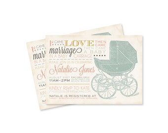 CUSTOM Vintage Inspired Baby Shower Invitation- Old Fashioned Baby Carriage