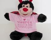 "Personalized teddy bear t-shirt  AND 8"" Teddy Bear Flower girl Ring Bearer Wedding Birth Announcement Birthday Giftnew born baby gift"