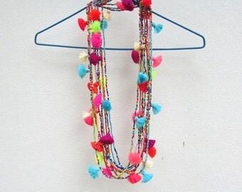Ibiza Tassel Necklace Seed Bead Tassel Necklace Long Tassel Necklace Tiny Bead Necklace Long and Layered,Dainty,Trendy,Cool Friend Gift