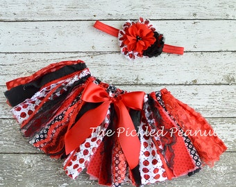 Lady Bug Ladybug Red Black Baby Tutu Birthday Tutu Birthday Outfit One 1st 2nd Glitter Sparkle Shabby Chic Fabric Tutu Monogram Baby Girl