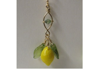 Isle of Capri Limoncello Italian Glass Lemon Drop Twist OPAQUE Pendant Charm