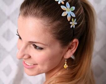 Flower head bands, Flower headband, Girl hair accessories, Metal headband, Light blue headband, Girls gifts, Girl headband, Gift for a girl