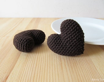 Amigurumi Crochet Bitter Chocolate Heart (Set of 2) - Cake topper - Wedding table decor - Birthday party decoration