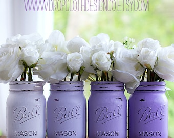 Painted Mason Jar - Lavender Purple Ombre Painted and Distressed Mason Jars - Set of 4 Mason Jars for Weddings, Showers, Parties, Home Decor