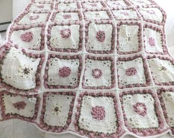 Crochet Rosebud Afghan - Rose Afghan/Throw