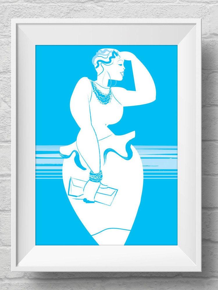 Cute Retro Mod Dress Plus Size Pinup Art Print Poster Sexy