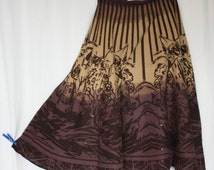 Full skirt ombre brown plus size city graphics artsy abstract pure cotton  sequin  beaded high waistband lined retro 50s waist 32""