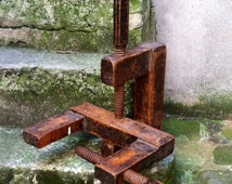 Antique wood C clamp ledge shelf hooks hangers industrial arts artisan turned wooden screw tool clamps on to exposed pipes beams columns